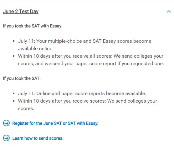 SAT考试报名官网College Board攻略(二.出分及分数报告)