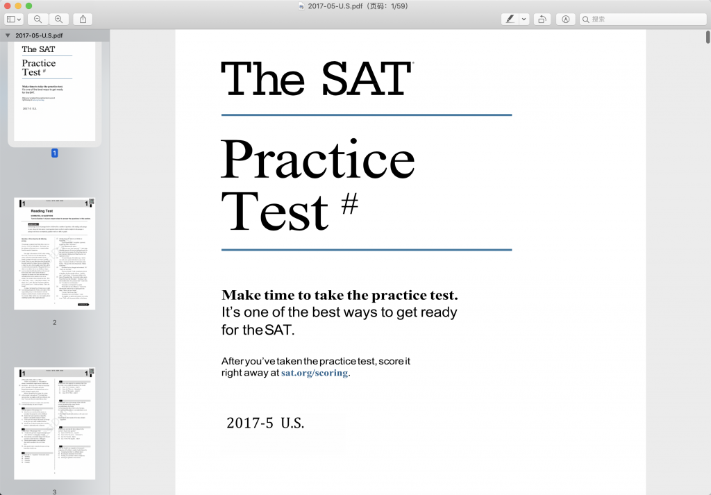 2017年5月北美SAT真题下载-答案解析下载