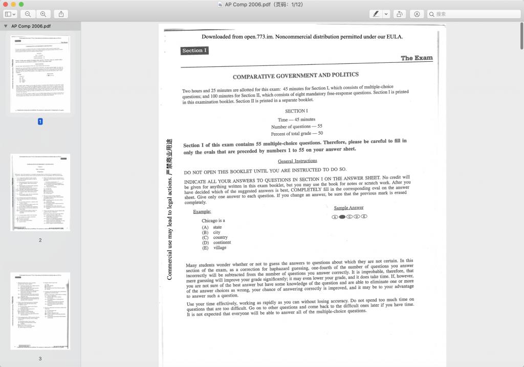 2006年AP比较政府真题下载-选择题下载