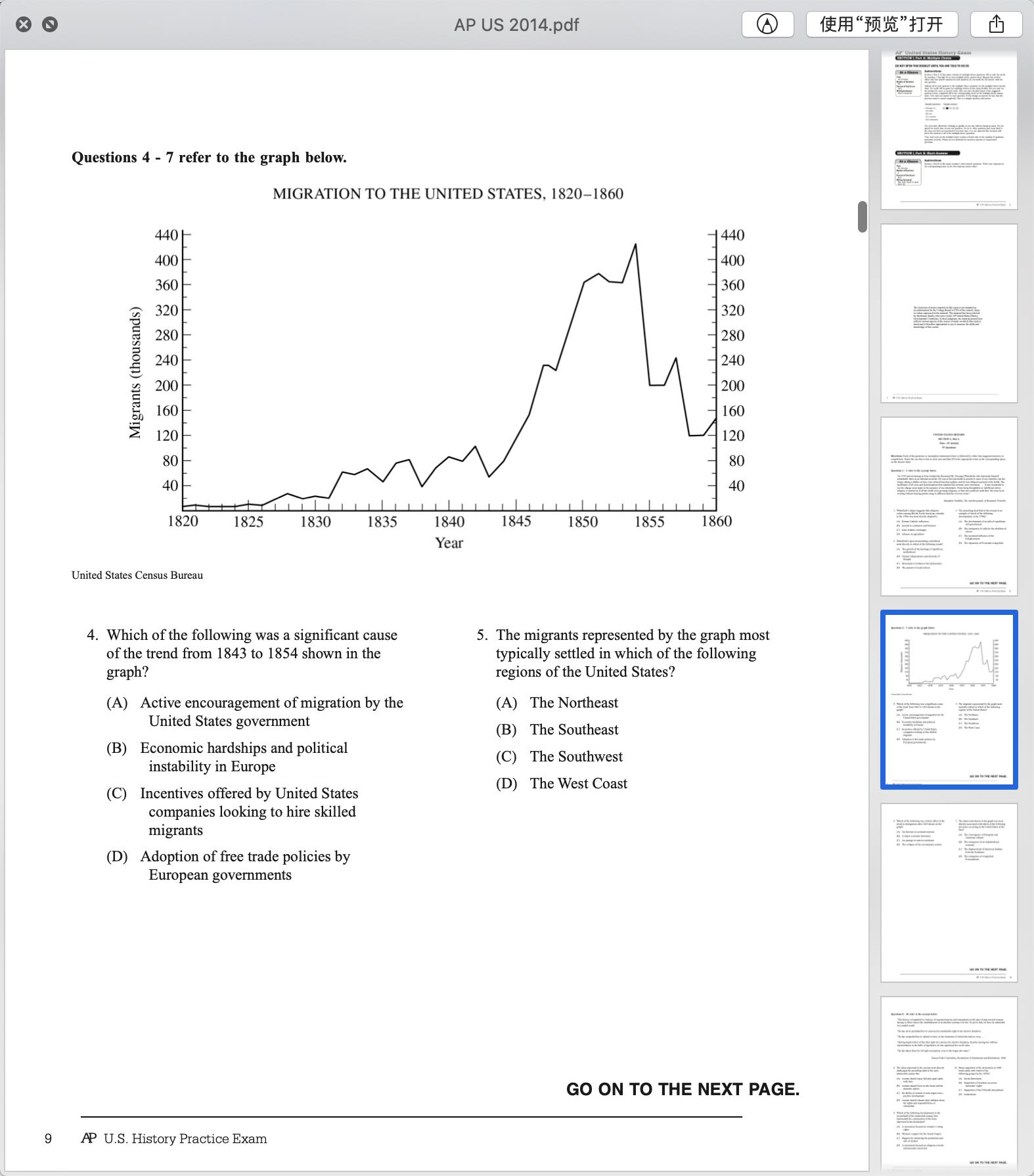2014年AP美国历史真题下载-选择题下载