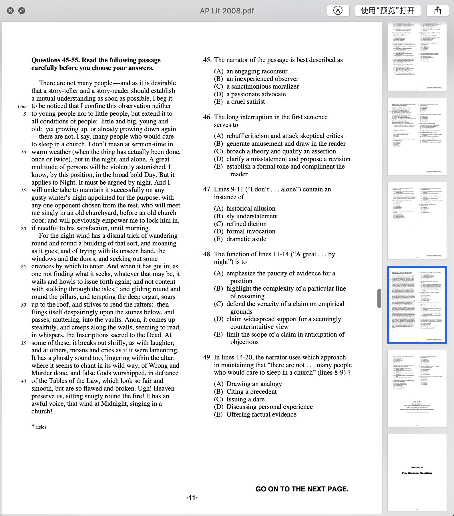 2008年AP英语语言与写作真题下载-选择题下载