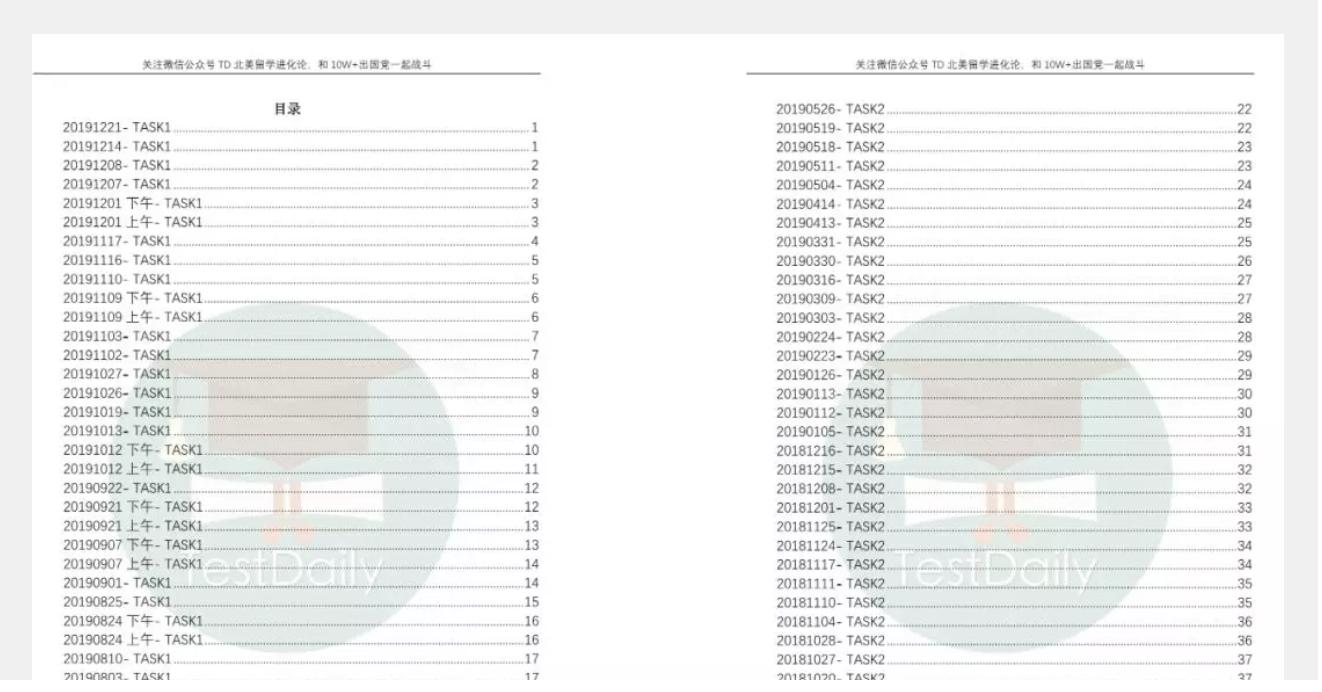 2016-2019年托福口语真题-口语高分答案合集-TestDaily厚朴优学