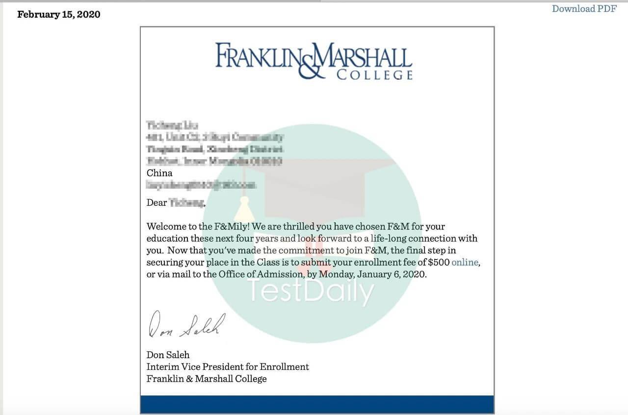 """富兰克林马歇尔学院录取:用活动充实""""人设"""",裱花不高的我等来了F&M的Offer-TestDaily厚朴优学"""