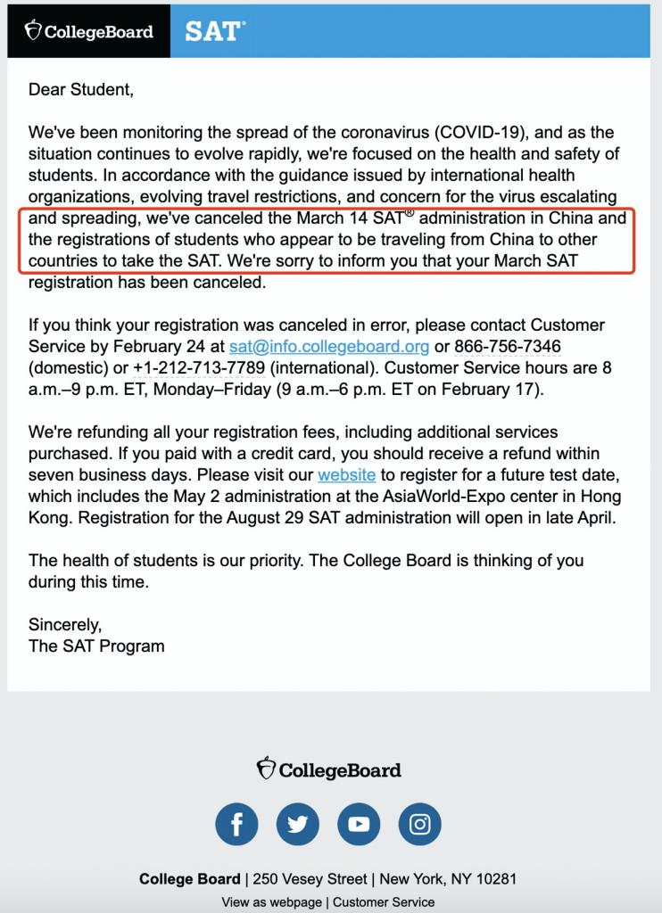 突发!受新冠病毒影响,中国赴境外参加3月SAT考试的考生被取消考试!
