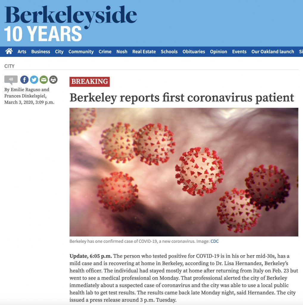 加州大学伯克利分校附近出现新冠肺炎确诊病例,校方表示和UCB没有明显关联