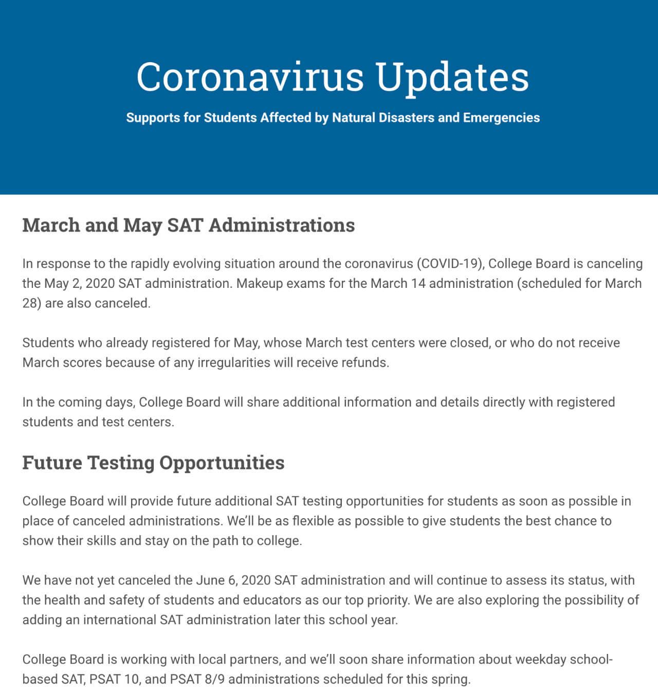 突发!CB宣布取消2020年5月SAT及3月SAT补考!AP或转为线上考试?-TestDaily厚朴优学