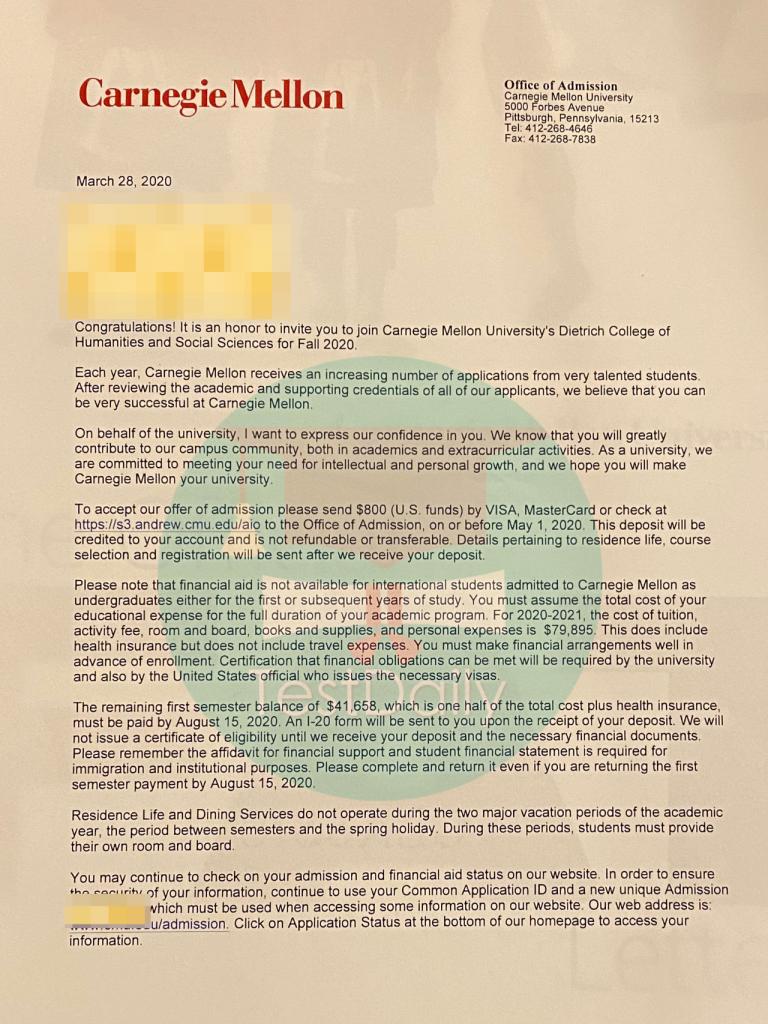 卡内基梅隆大学本科申请案例分享:CMU真的难申请吗?被梦校拒绝后,我意外收到他的offer