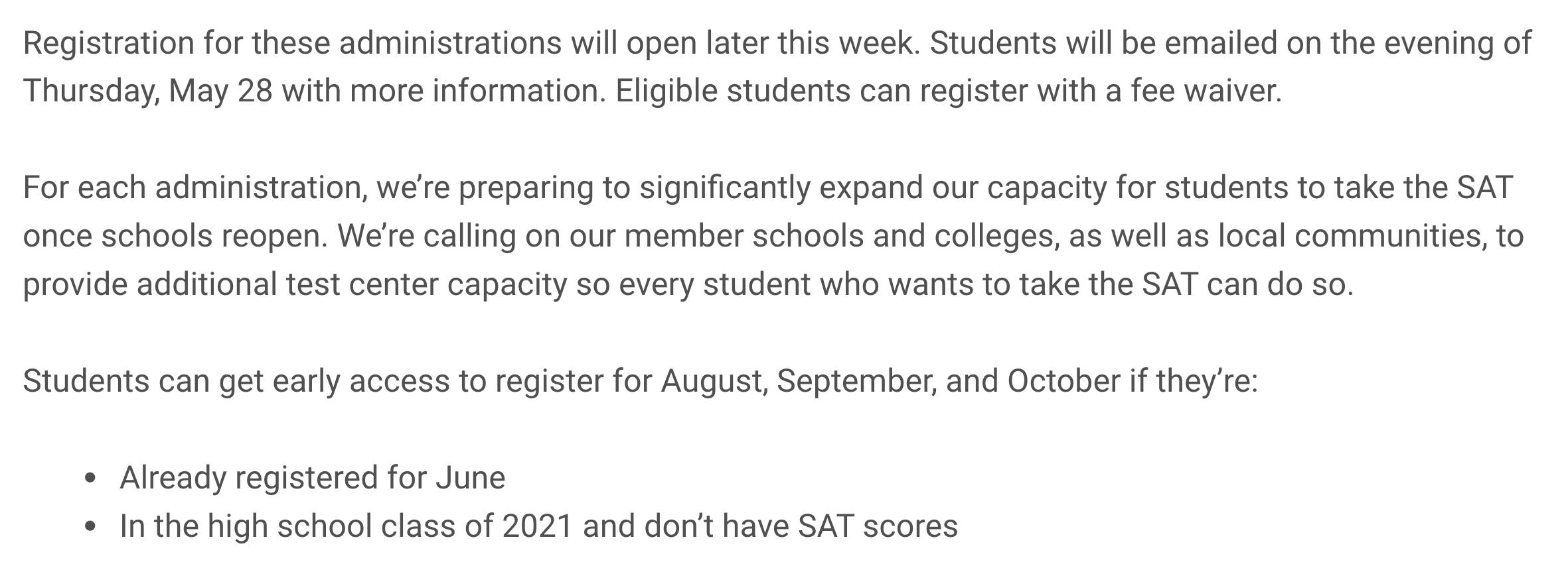 CB发布2020年下半年SAT报考时间/5月28号放考位通知,确定增加11月亚太SAT2考试!-2020年SAT/SAT2考试时间表