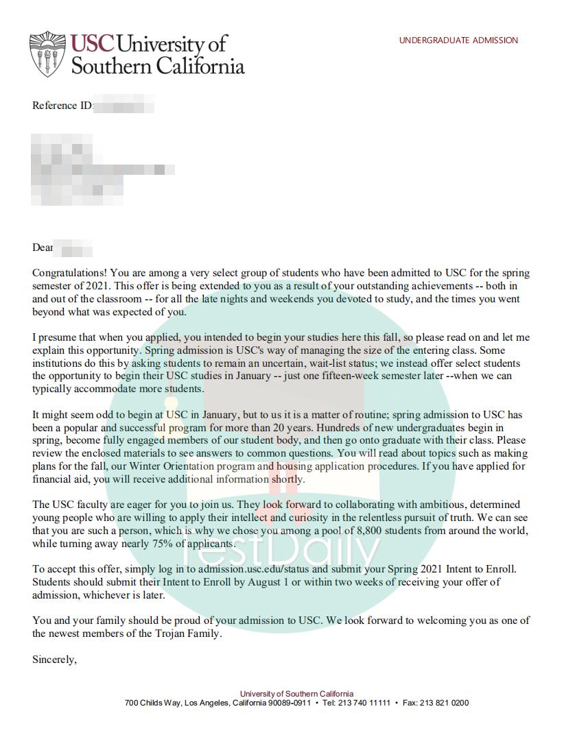 南加州大学的录取通知书offer