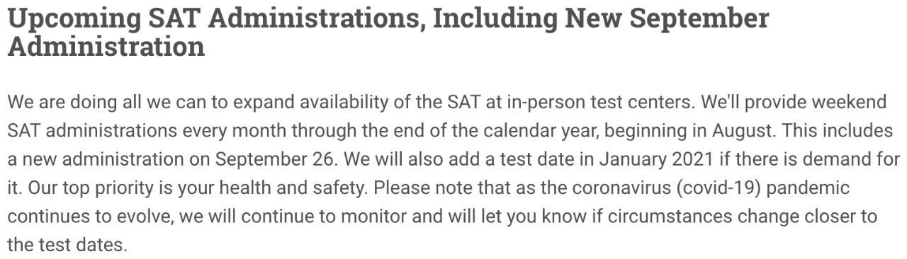 CB最新消息:可能追加SAT 2021年1月考试,并增加考点考位,将协调各大学推迟申请截止日期,暂时不实行网考形式!