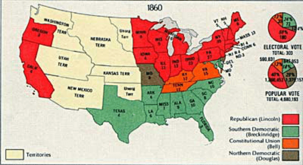 1860年总统选举得票情况