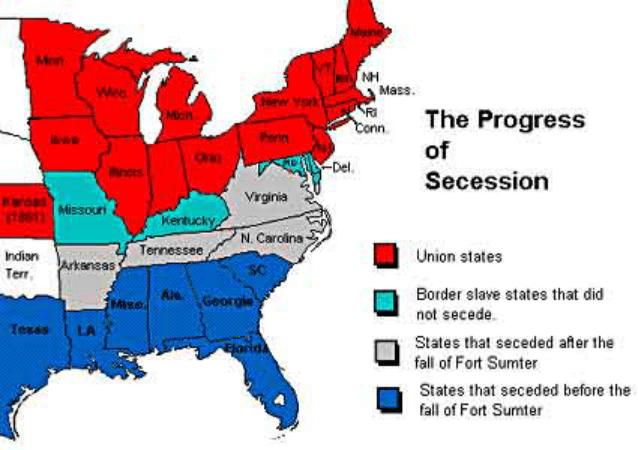 """南方各州""""退出""""联邦的情况"""