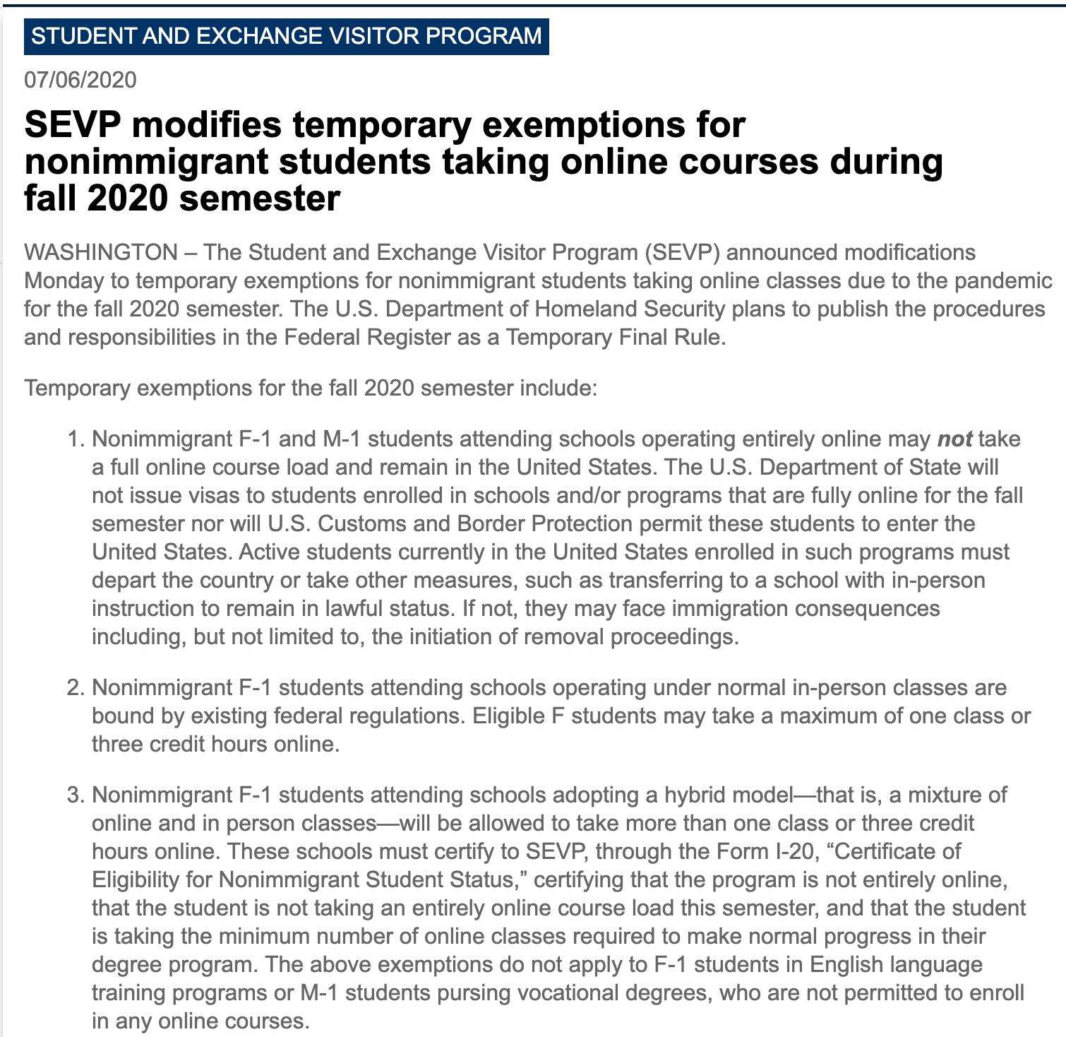 2020年选择全面网课的f1和m1留学生不予发签证?!在美学生,必须离境?!-2020年美国签证新政策