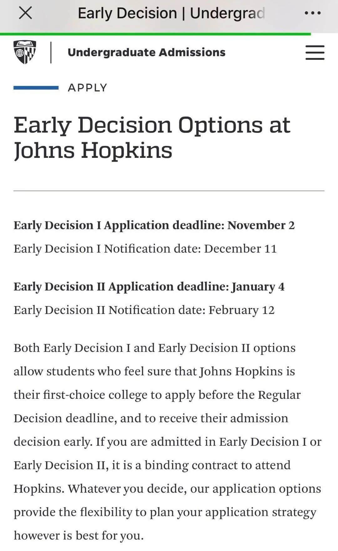 2020年约翰霍普金斯大学宣布增加ED2申请!什么是ED2?JHU的ED2录取率怎么样?适合哪些同学申请?