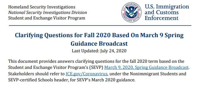 美国政府发布新政策,2020年美国大学所有网课留学新生下学期无法入境,哈佛大学/UCLA表示赞同