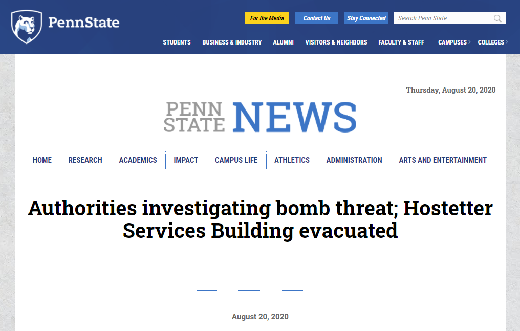 宾州州立大学PSU、布兰迪斯等多所美国大学遭炸弹威胁?!UCSC发布火灾预警!-美国大学校园安全
