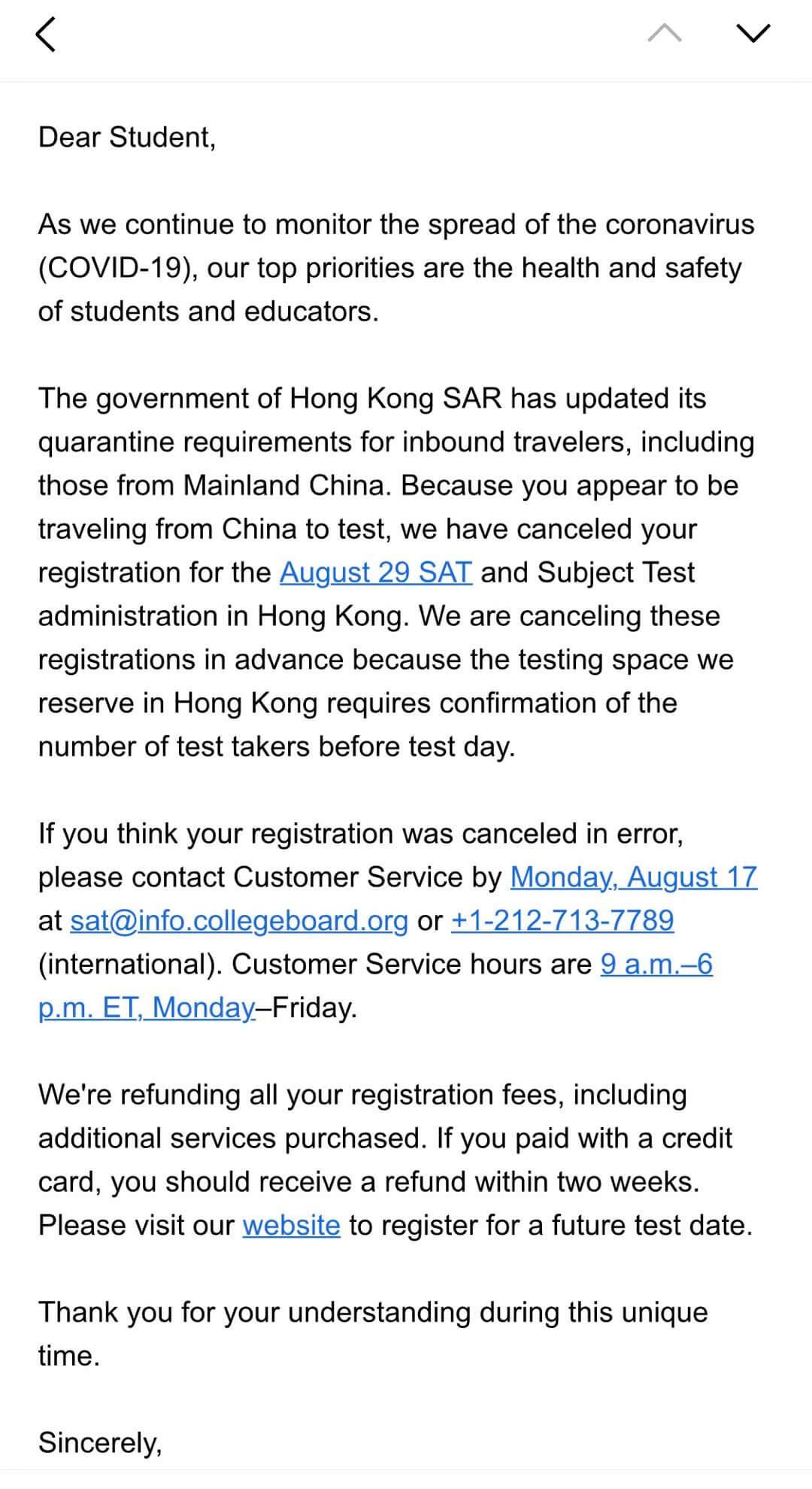 CB宣布取消2020年8月香港SAT考试,大陆赴香港8月SAT考试的考生该何去何从?香港SAT考试取消有什么影响?