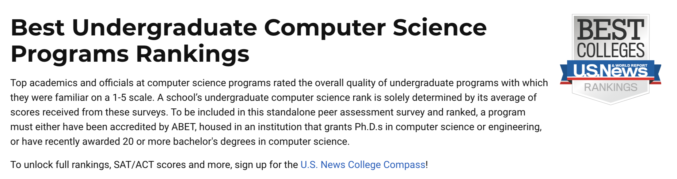 2021U.S.News 首次发布美国本科大学计算机专业排名!-计算机专业最强的美国大学TOP10