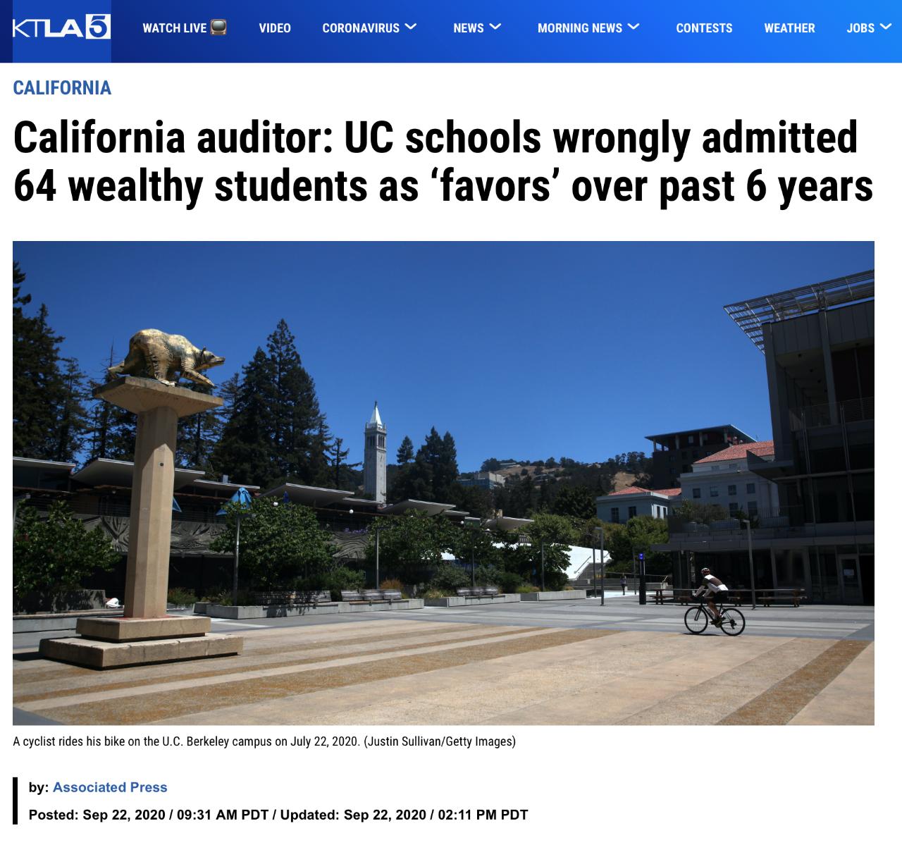 美国大学录取舞弊丑闻!64名伯克利、UCLA等校学生涉嫌违规录取,美国名校有钱就能申请?