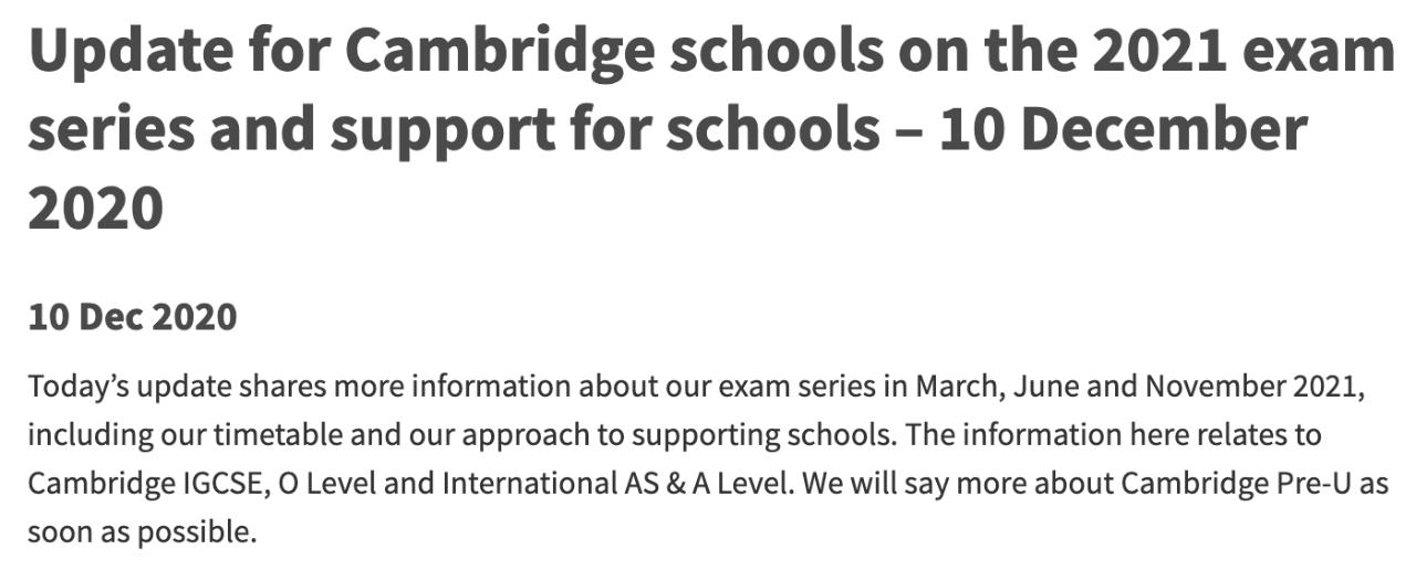 剑桥国际考试局(CAIE)发布最新通知:对IGCSE和A Level等考试将给予学校更多支持