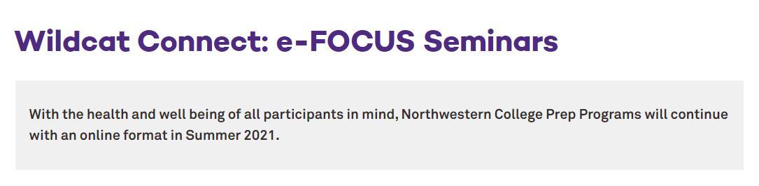 2021年西北大学夏校:e-FOCUS Seminarse-西北大学暑期项目