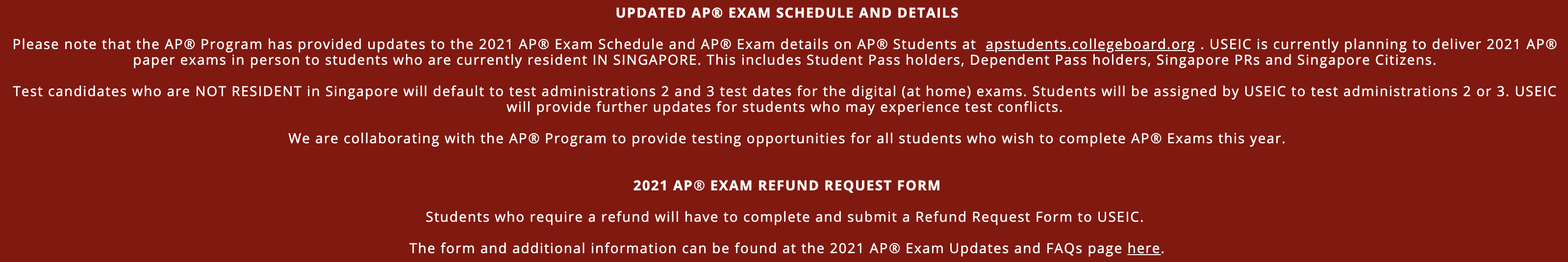 重磅官宣!2021年新加坡AP海外考生可线上家考|附AP考试缴费/退考流程及报名常见问题