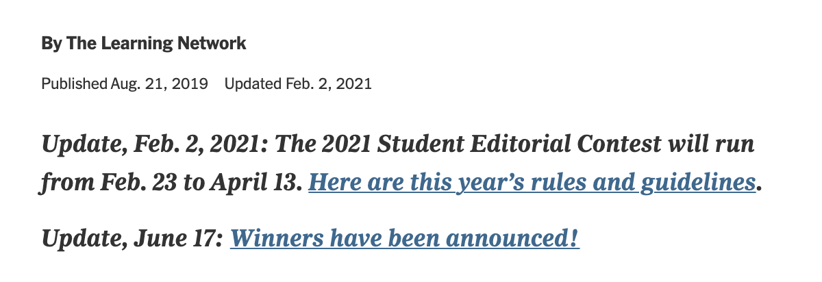 2021年《纽约时报》社论写作比赛正在进行,参赛拿奖,需要前做好这些准备!