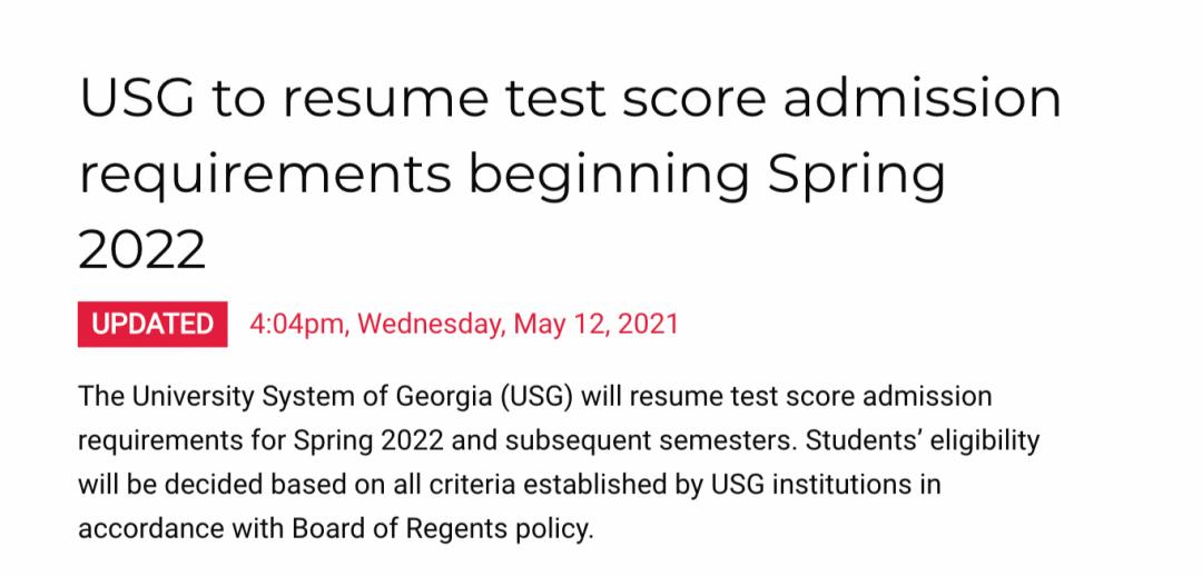 重磅!佐治亚理工大学宣布2021-2022申请季,必须提交SAT/ACT成绩!