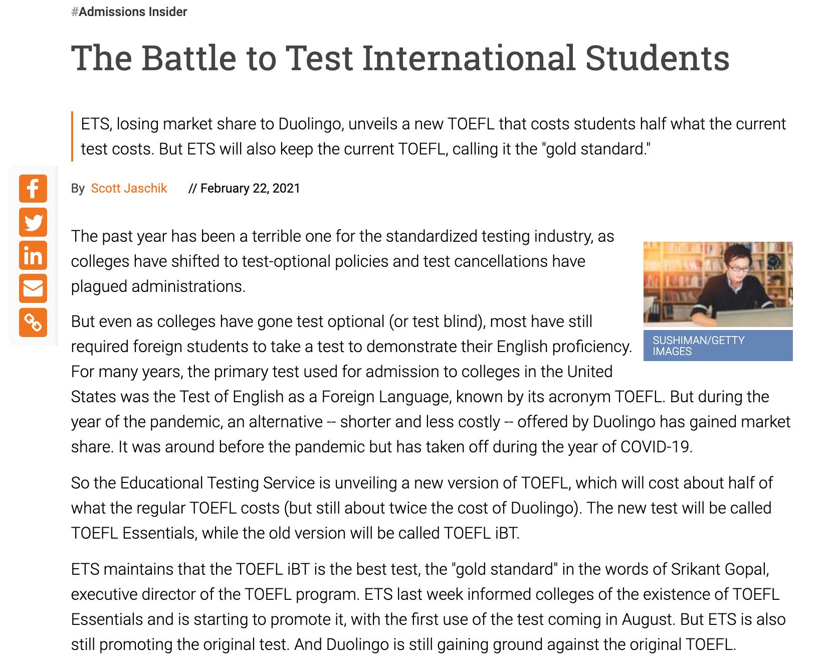 托福TOEFL Essentials考试发布!考试内容及形式/考试报名/成绩计算/接受院校等细节说明都在这!