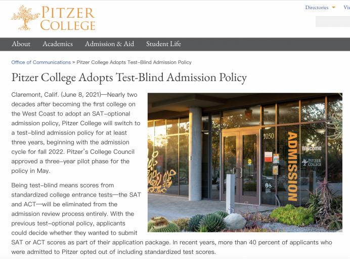 重磅!匹泽学院将在2022年秋季招生开始实行标化可选Test-Blind政策,试行期至少三年!